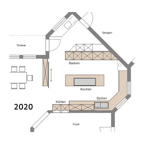 Typischer Küchen-Grundriss einer großen Privatküche im Jahr 2020