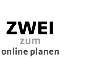 Logo für das Regalsystem zwei, mit dem Titel zwei zum online planen