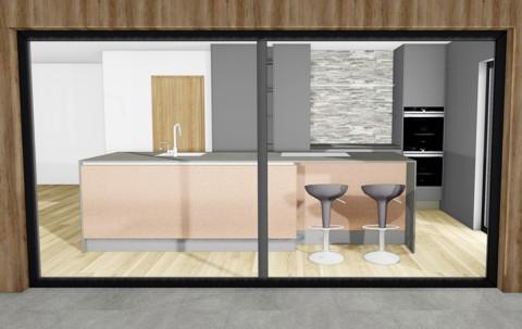Blick durch das Fenster auf die Küche mit Barhockern