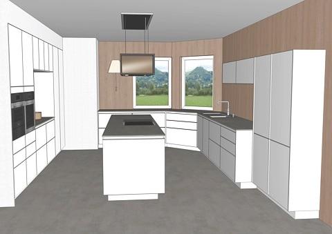 Blick in den Küchenraum mit Kochinsel