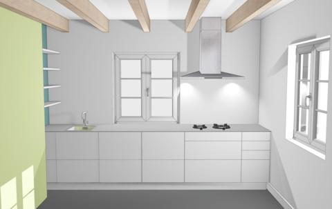 Weiße Küchenzeile mit Gas Einzelkochstellen