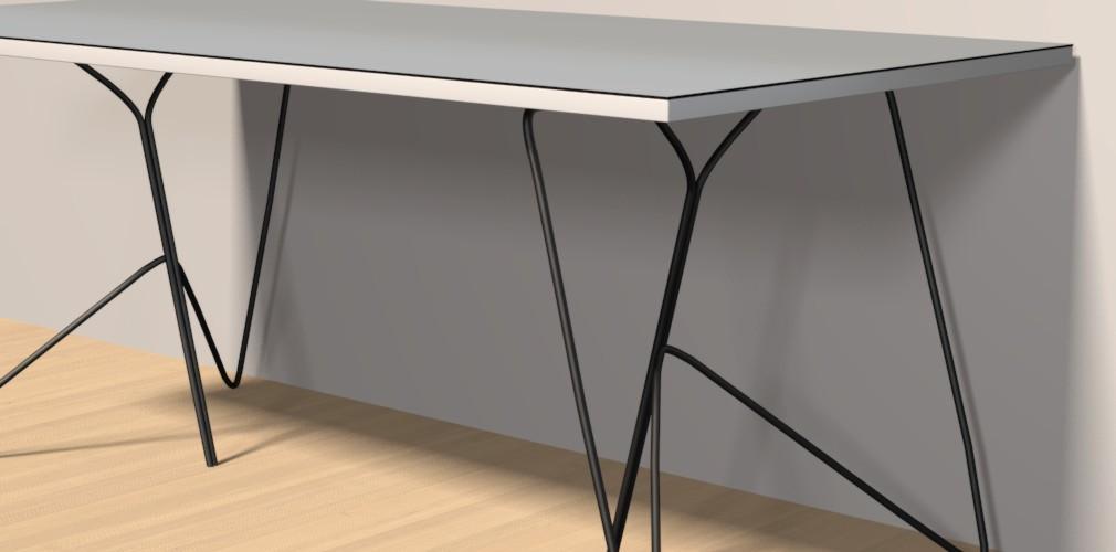 Detailbild eines Draht-Tischbockes mit einer mit Linoleum belegter Tischplatte