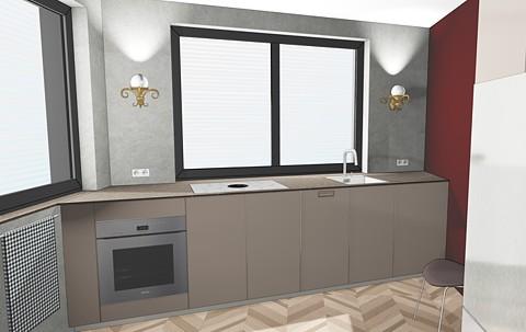 Küchenzeile in spitzem Winkel modern-verspielt