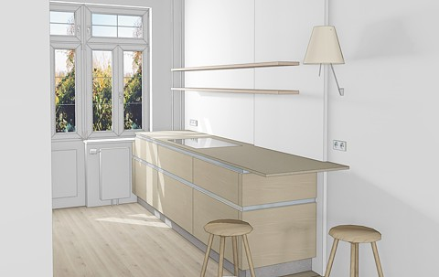 Küchenzeile mit auskragender Arbeitsplatte als Sitzplazu
