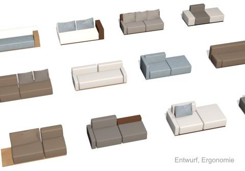 Entwurfs-Rendering eines Sofasystems in Farb- und Zusammenstellungs-Varianten